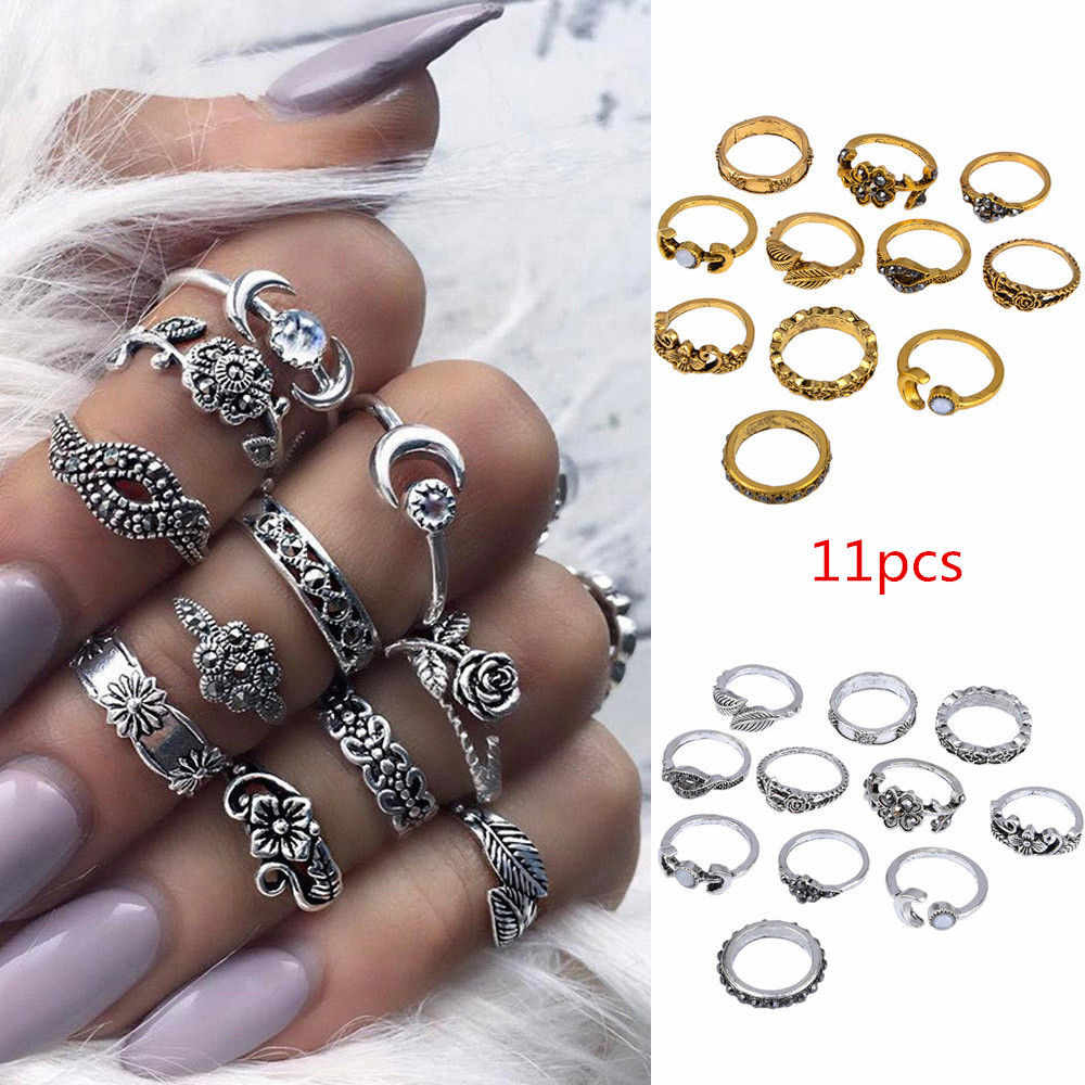 11pcs/Set Women Rings Bohemian Vintage Silver Stack Rings Jewelry Accessories Amazing Anillos Above Knuckle Blue Rings Set Aneis