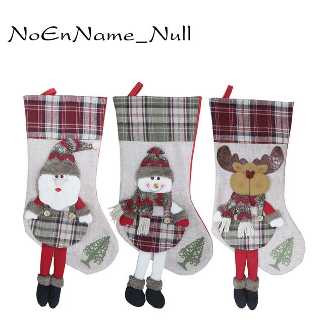 christmas decoration stocking large long legged plaid christmas stockings gift bags decoration christmas socks candy - Plaid Christmas Stockings