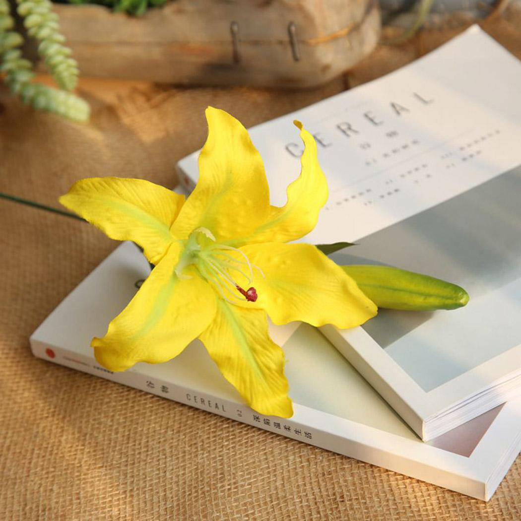 Artificial Lily Flower Plants Fake Plant Home Decoration Yellow, Rose Red, Light Pink, White 18G