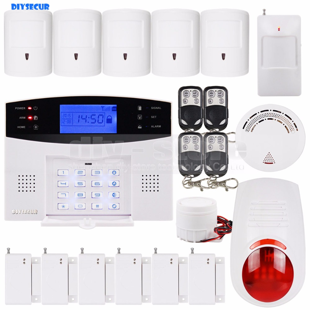 DIYSECUR Wireless & Wired GSM SMS Home Security Alarm System + 5 Pet Friendly PIR + Wireless Flash Siren + Smoke Sensor wireless alarm accessories glass vibration door pir siren smoke gas water sensor for home security wifi gsm sms alarm system