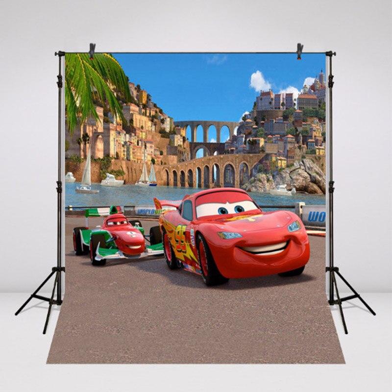 5ftx7ft Виниловый фон для фотосъемки красный автомобиль мультфильм фото фон для мальчиков фотографический фон День рождения Реквизит