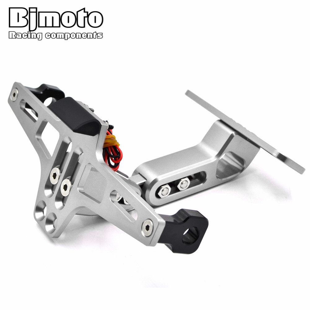 BJMOTO Motorcycle License Plate Bracket Licence Plate Holder Number Plate Hanger Tail Tidy Bracket with Light For Sport Bike motorcycle tail tidy fender eliminator registration license plate holder bracket led light for ducati panigale 899 free shipping