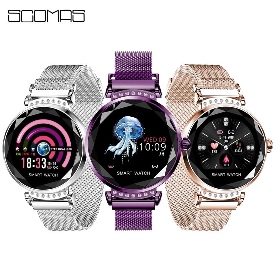 SCOMAS Newest Fashion H2 Smart Watch Women 3D Diamond Glass Heart Rate Blood Pressure Sleep Monitor