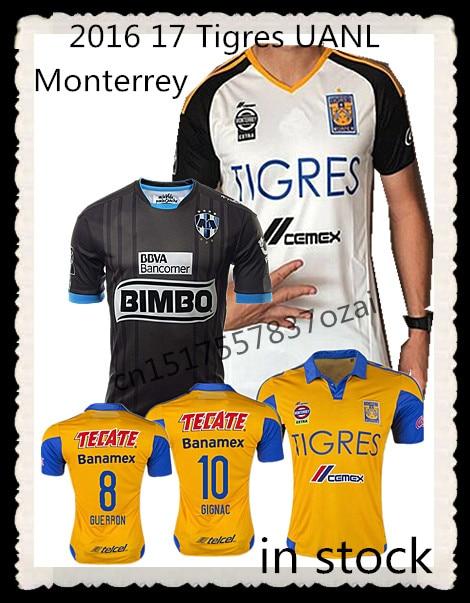 83df5d635 Top Tigres UANL jersey 2016 2017 Monterrey camisas de futebol2016 17 Tigres  de Monterrey GUERRON SOBIS GIGNAC equipe do mexico