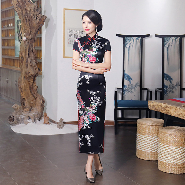 Black #Cheongsam Traditional #Chinese Style #Women's Long #Dress Lady Slim Rayon #Qipao #fashion #boygrl 1