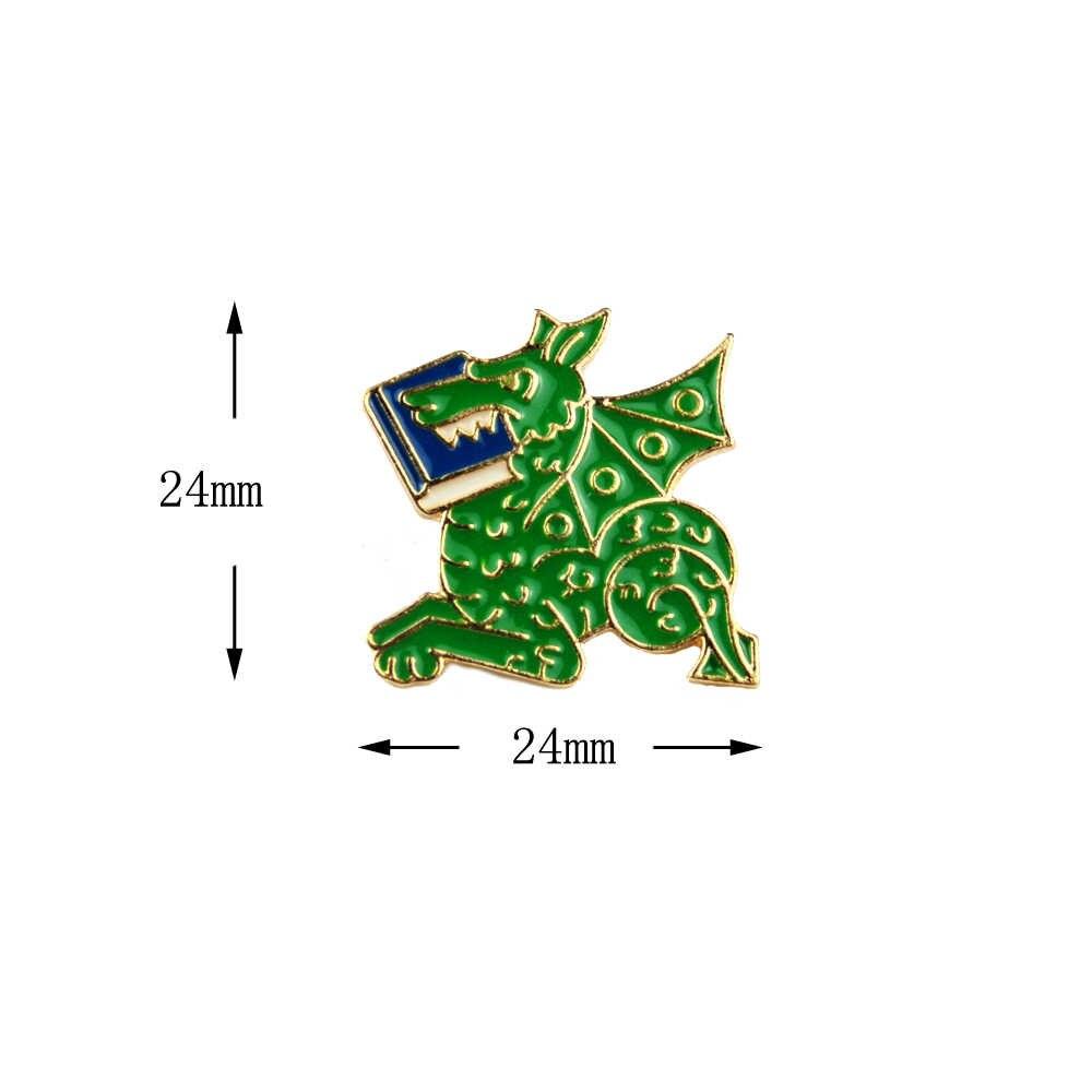 ירוק דרקון ספרי אמייל פין עבור תרמיל תיק מעיל אבזרים