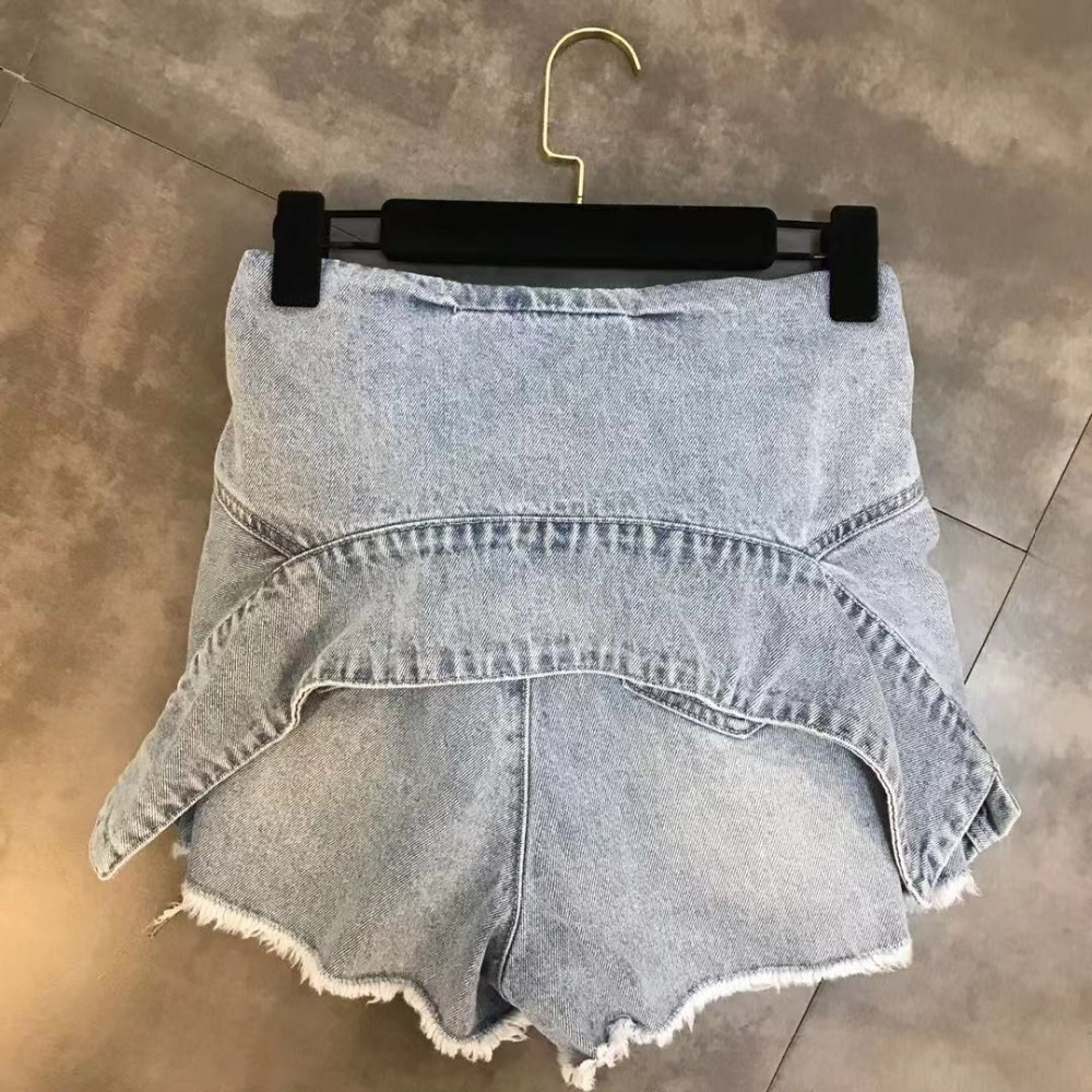 Luoanyfash Lace Up Shorts Hoge Taille Denim Shorts Voor Vrouwen High Street Zomer Designer Kleding 2019 Nieuwe Mode Stijl - 4