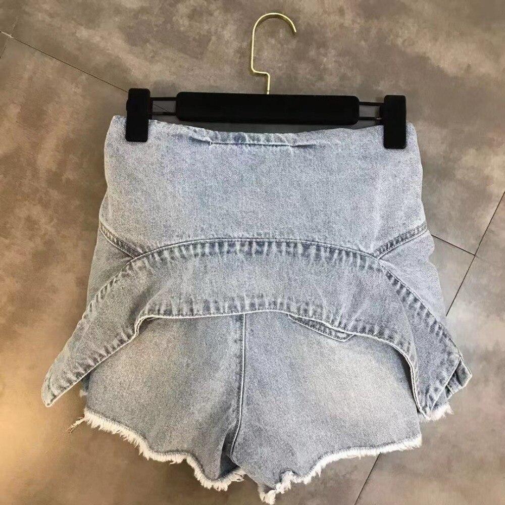 Luoanyfash шорты на шнуровке с высокой талией джинсовые шорты для женщин высокая уличная летняя Дизайнерская одежда 2019 Новый модный стиль - 4