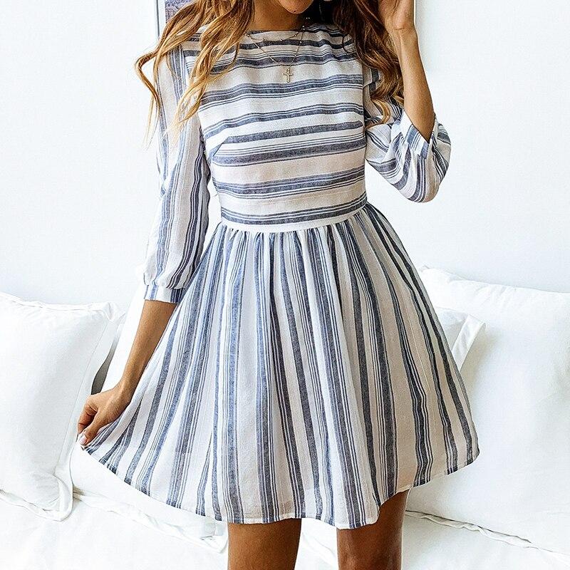 Elagant Striped O-Neck Beach Mini Dress 1