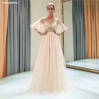 Champagne Tulle Flare Sleeve Evenig Dress Long Elegant Beaded Sequined Split Formal Dress Chic Light Grey Women Gown Real Photos