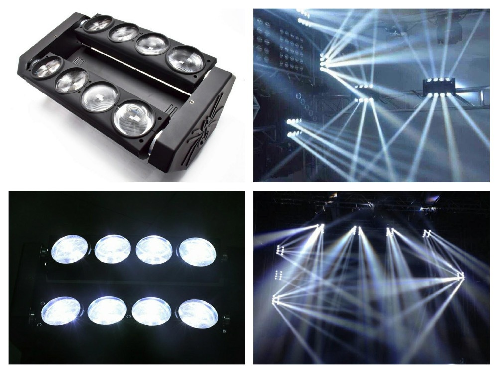 4pcs/lot, LED Spider beam 8x10W White moving head spider cree RGBW beam Light disco ktv dj club show bar stage system 9 moving head laser spider light green color 50mw 9 triangle spider moving head light laser dj light disco club event