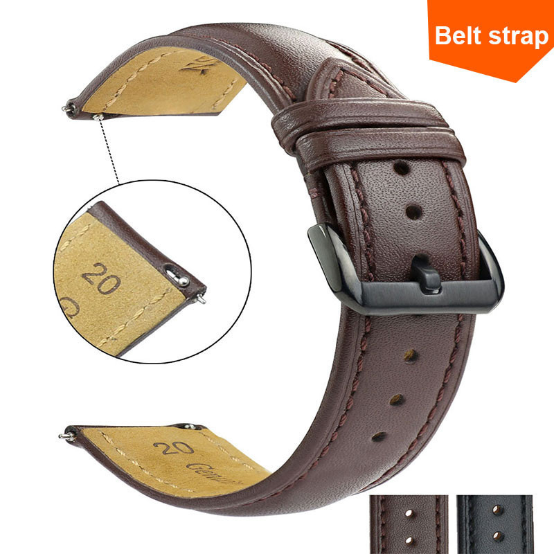 DICTAC Black/Brown  Replacement Wrist Strap For Men And Women Pin Buckle Plain Strap Faux Leather Watch Strap 16/18/20/22mm