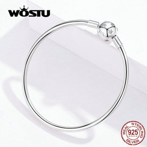Image 5 - WOSTU تألق نجوم أساور 100% 925 مجوهرات الفضة القياسية والزركونيوم إسورة حلية مستديرة للنساء الفضة 925 مجوهرات CQB144
