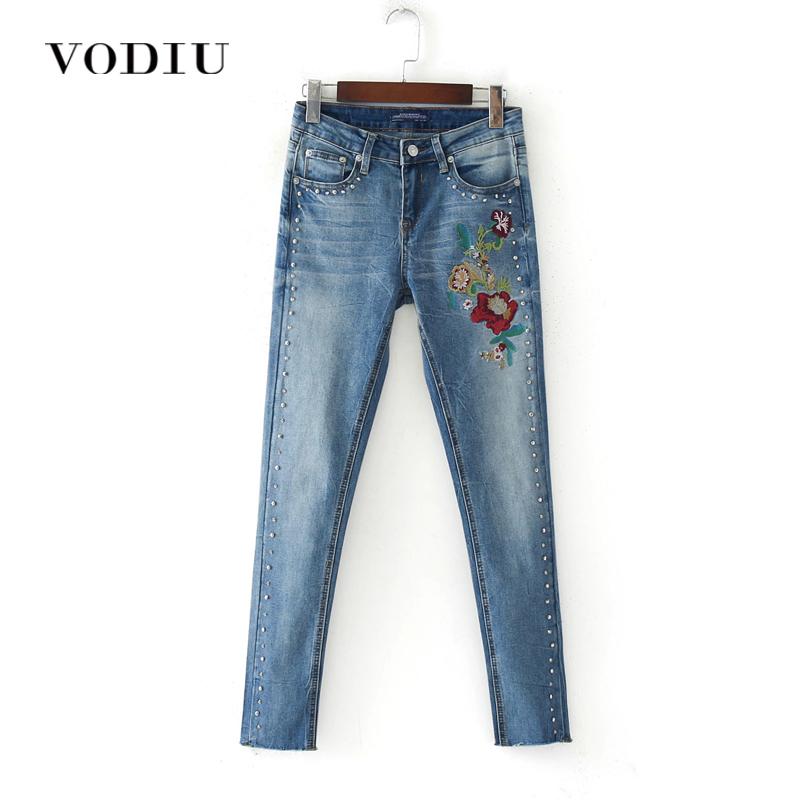 59b836cc25d Embroidery Jeans Woman High Waist Slim Skinny Elastic Stretch Pencil Long Trousers  Ankle Pants Pearl Bleached
