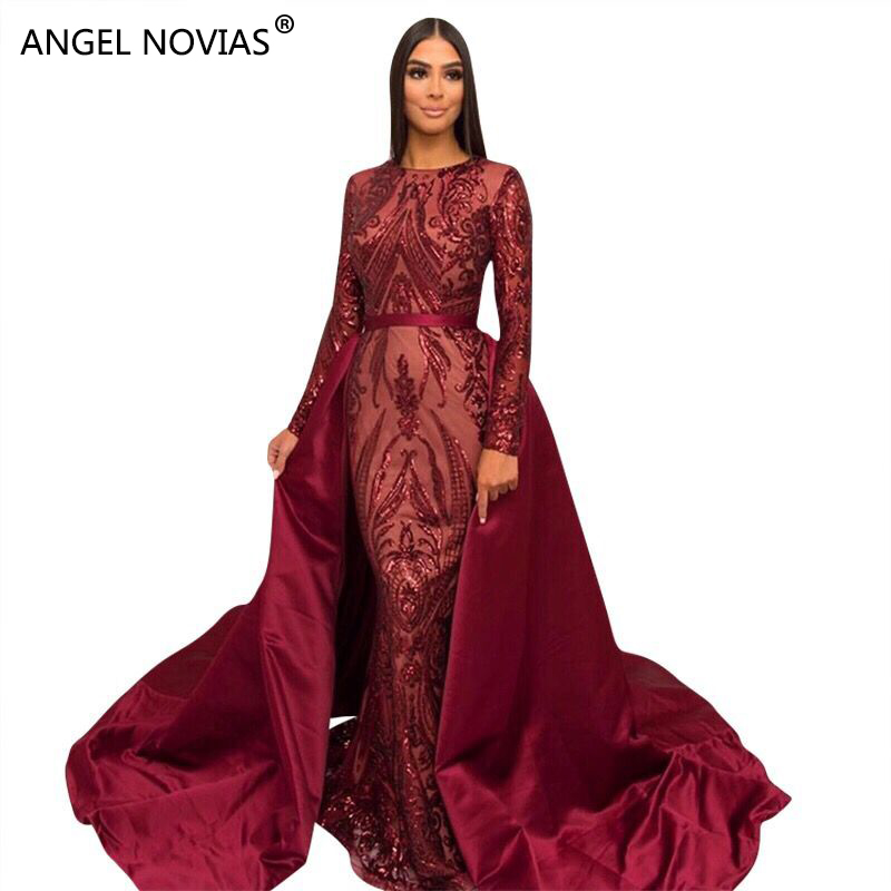 ANGEL NOVIAS Long Sleeves Evening Dresses 2018 Mermaid Purple Abendkleider Muslim Saudi Arabic Prom Gown with Detachable Skirt