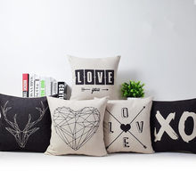 Geometric LOVE Decorative Throw Pillow Cover Black and white Deer Printed Pillow Case Chair Seat Sofa Couch Cushion Cover(China)