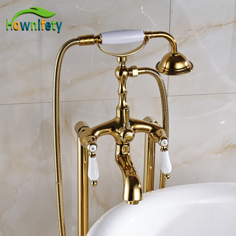 Free Floor Standing Gold Plate Bathroom Tub Faucet Swivel Spout Tub Mixer Tap With Dual Handles