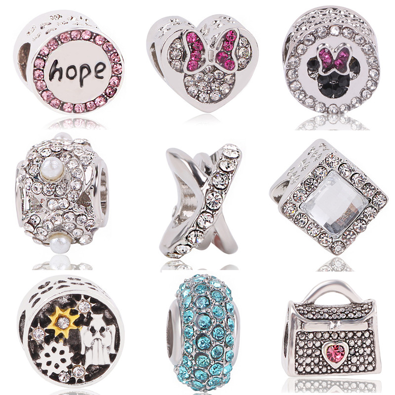 Ranqin New Arrival European Silver Plated Bead Charms Fits Diy Pandora Charm Bracelet & Bangles Jewelry For Women Gift
