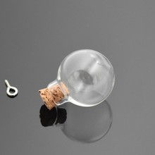 10pieces 24mm Wish glass Bottle pendant with cork Perfume essential oil vial glass ball orb charms findings jewelry making