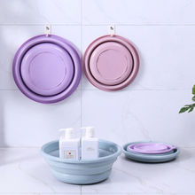Fashion Silicone Portable Camping Folding Wash Basin Collapsible Bucket/ Dish Tub Solid Cool Washbasin