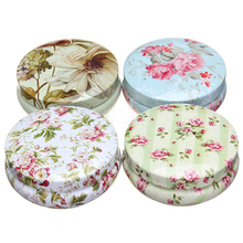 Mini Round Iron Floral Tin Jewelry Storage Box Earphone SD Card Case Storage Bag Beauty Bathroom Decoration 6 styles