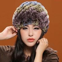 Женский зима прилив теплая зимняя шапка шерсть шляпа натуральный мех кролика уха у пожилых людей