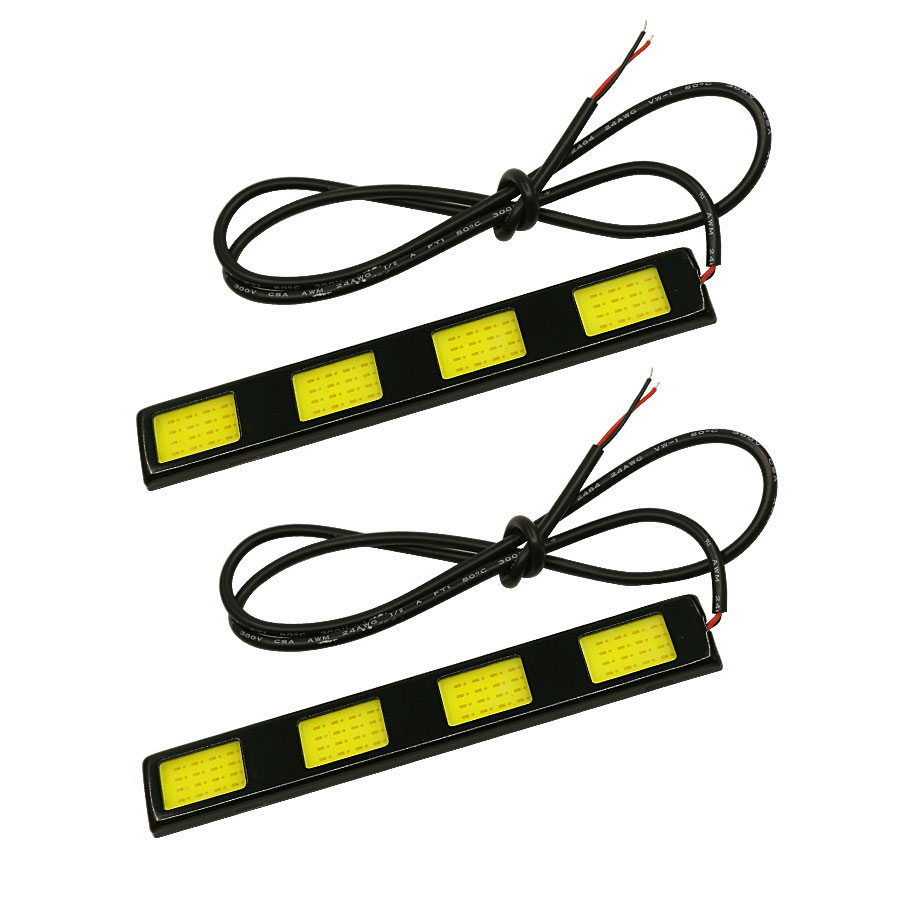 New 2pcs/lot Waterproof Daytime Running Driving Light 4 LED COB 24W DC12V DRL Auto Car Driving Front Fog Lamp White Bulb For Car new arrival a pair 10w pure white 5630 3 smd led eagle eye lamp car back up daytime running fog light bulb 120lumen 18mm dc12v