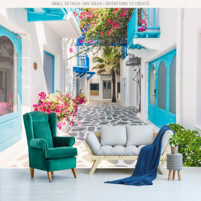 Greek Santorini Love Sea Modern TV Backdrop Wall Wallpaper Custom 3d Wall Paper Vintage Decorative Painting 3d Muarl custom photo wallpaper 3d hd forest river waterfall backdrop decorative wall painting living room bedroom wall covering paper