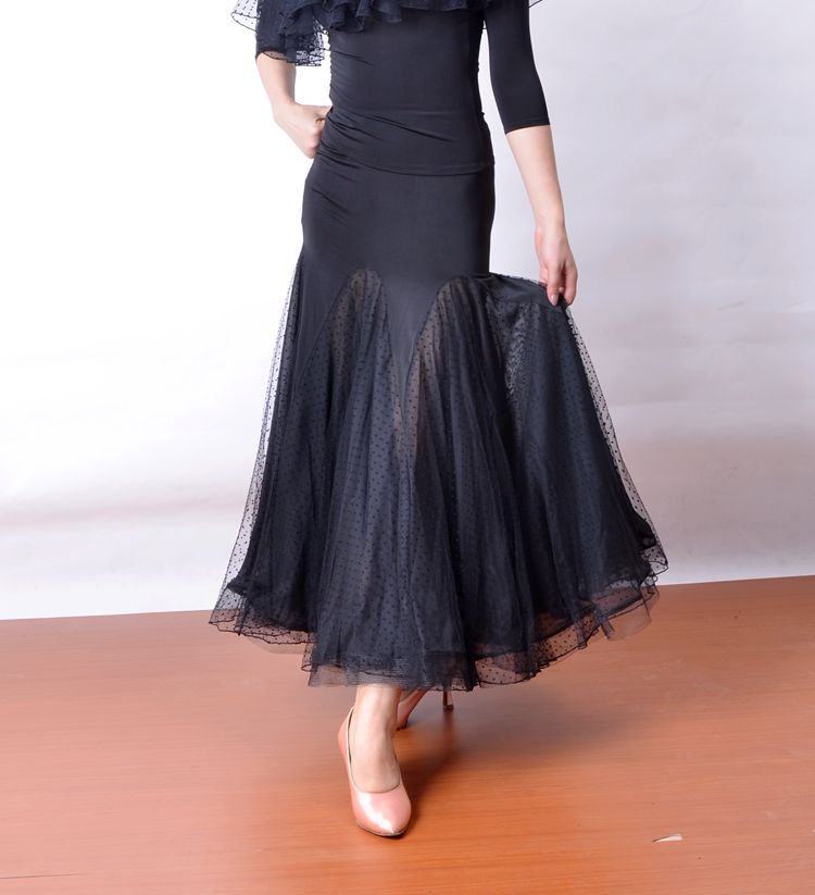 Ballroom Dance Modern Dance Two Layers Mesh Big Flare Hem Package Hip Skirt S12028
