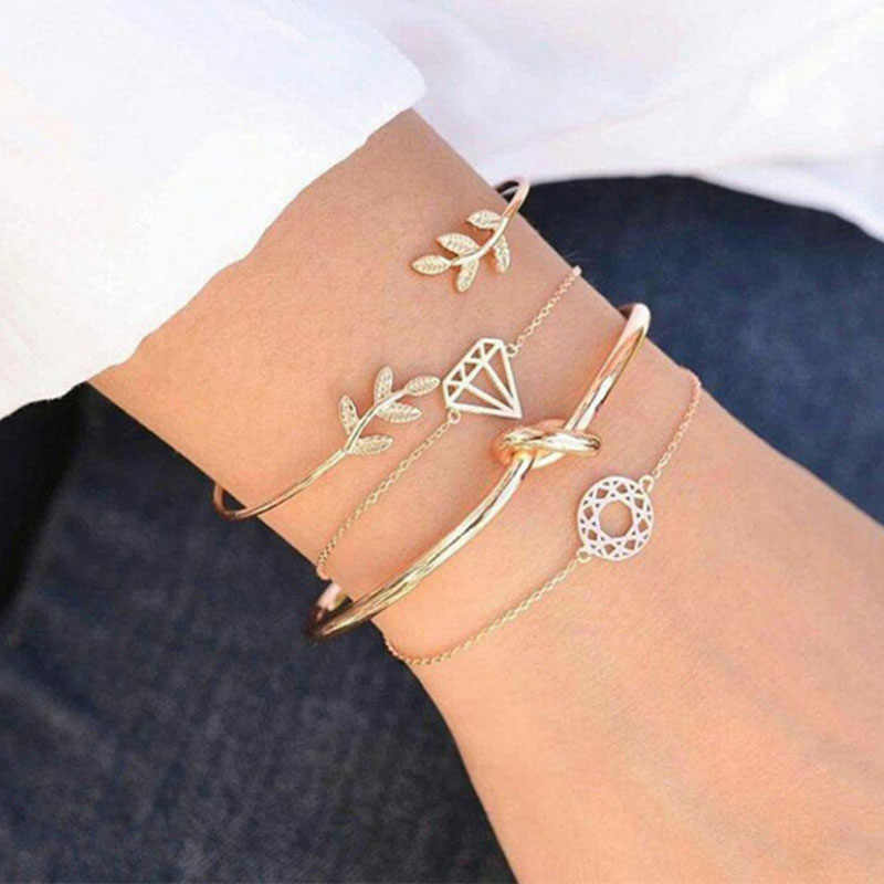 4 pcs/set Bracelets Sets For Women Girl Knot Leaf Hollow Circle Open Cuff Bangle Set Gold Color Link Chains Accessories Jewelry