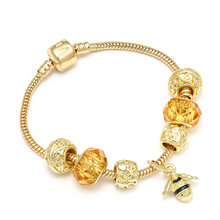 CUTEECO New Style Gold Color Charm Bracelets With Crystal Bees Pendant Brand & Bangles For Women Jewelry Gift