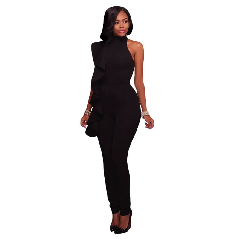 19064f48726 Street Fashion Black Cold Shoulder Ruffles Jumpsuit For Women 2018 Elegant Work  office Long Pants Overalls
