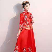 Red Chinese Wedding Bride Cheongsam Traditional Style Evening Dress Embroidery Long Qipao Womens Clothing Size S M L XL XXL