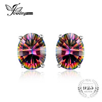 7x5mm Oval Cut 1 5ct Fire Rainbow Mystic Topaz Earrings Studs Solid 925 Sterling Silver