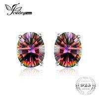 7x5mm Oval Cut 1 5ct Fire Rainbow Mystic Topaz Earrings Studs Solid 925 Sterling Silver