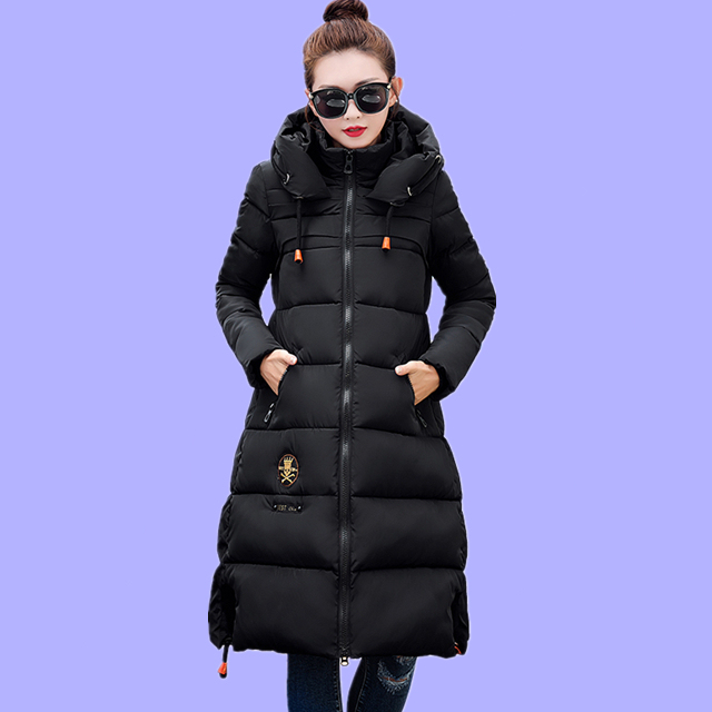 2016 High Quality Cotton Padded Jacket Women Winter Longer Sections Hooded Parkas Slim Thick Warm Cotton Coat Plus Size JN912