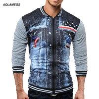 Aolamegs Mężczyźni Kurtka 3D Wydrukowano Zipper Cardigan Odzieży Wierzchniej American Style Wysokiej Jakości Mody Przypadkowi męskie Baseball Topy Odzież