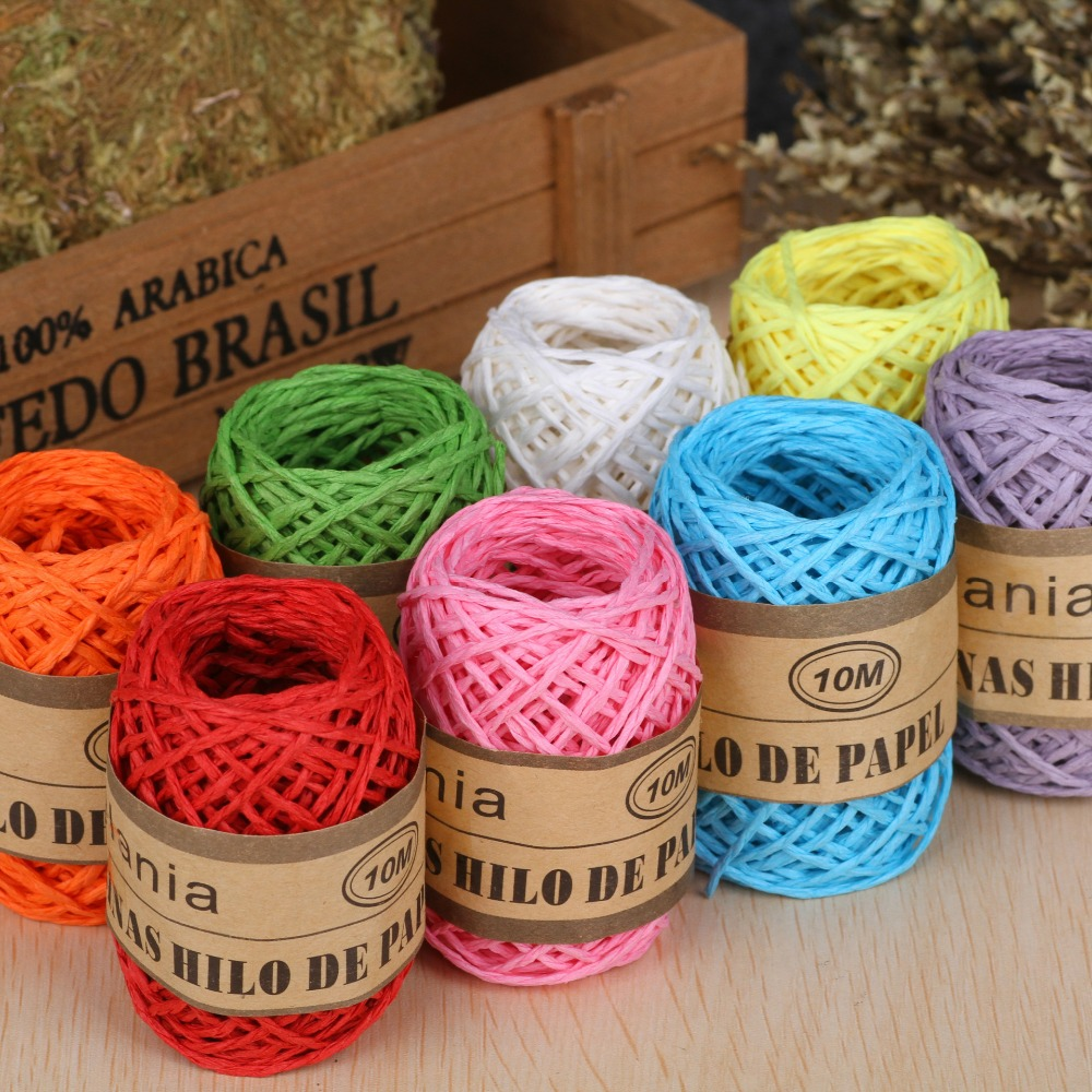 10m/roll DIY Raffia Ribbon Cord Rope For Palm Packaging Paper Rope Gift Box Packing Multicolor Xmas Wedding Party Decoration