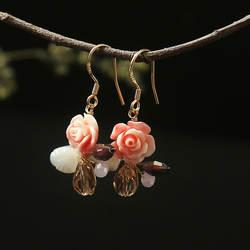 Amxiu натуральный розовый кристалл натуральный жемчуг серьги 925 пробы Серебряный Длинный кулон серьги для женщин цветок ювелирные изделия