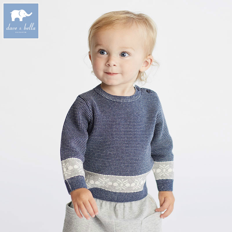 все цены на DB6217 dave bella autumn infant baby boys fashion pullover sweater toddler children knitted Sweater baby tops