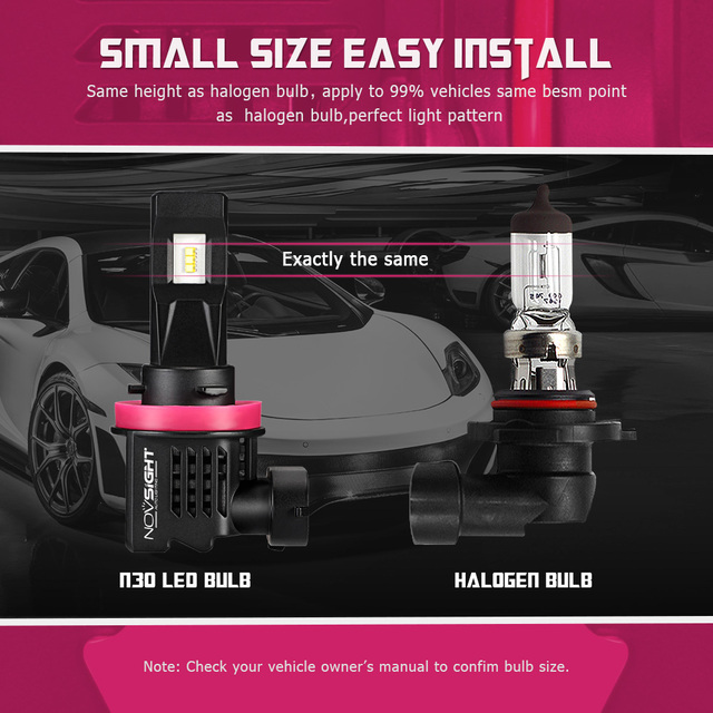 NOVSIGHT H11 Led H7 H4 Mini Car Headlight Bulbs H8 H9 H16JP 9005 9006 H1 H3 55W 10000LM 6000K 12V Auto Headlamp