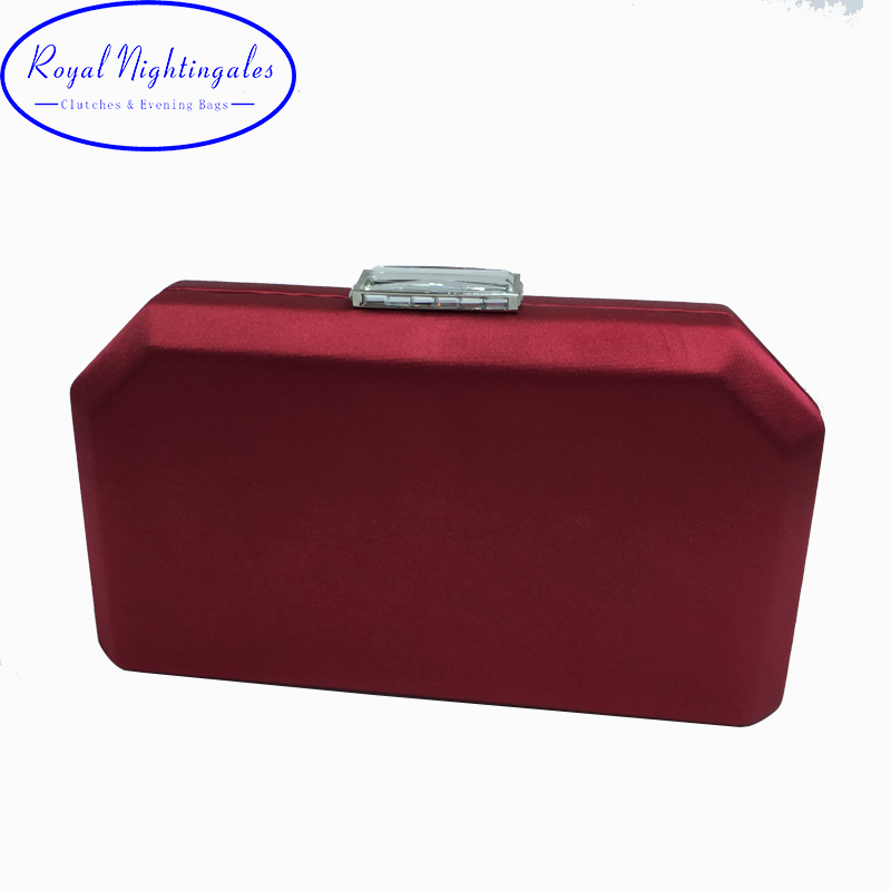 Фото Quality Navy Satin Silk Hard Case Box Clutch Evening Bags and Clutch Purses Handbags with Shoulder Chain for Ball Party Prom