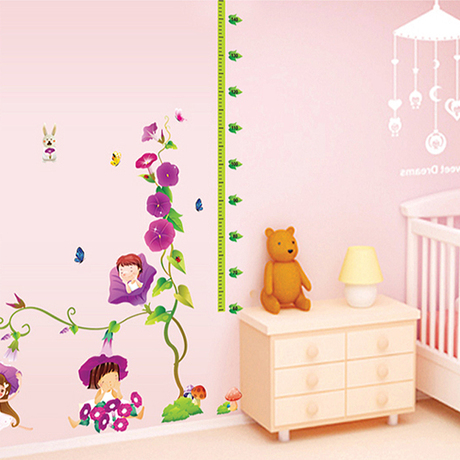 morning glory muurstickers cartoon hoogte stickers slaapkamer woonkamer kinderen babykamer tv bank achtergrond stickers in morning glory muurstickers