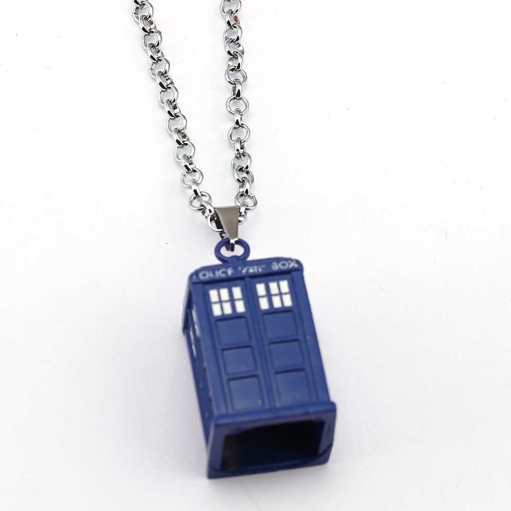 Doctor who necklace tardis pendant fashion link chain for Decor jewelry