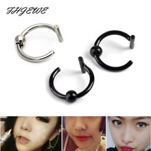 10pcs/lot Steel Fake Nose Ring Goth Punk Curved T Labret Lip Piercing with Ball