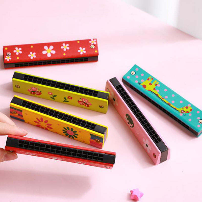 Harmonica 16 Holes Musical Educational Toy Kids Musical Toys Wooden Woodwind Music Instrument Toys For Students Birthday Gifts