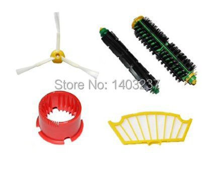 Vacuum Accessory for iRobot Roomba 500 Series Includes:Side Brush Flexible Beater Brush Bristle Brush Filter Cleaning Tool bristle brush flexible beater brush fit for irobot roomba 500 600 700 series 550 650 660 760 770 780 790 vacuum cleaner parts
