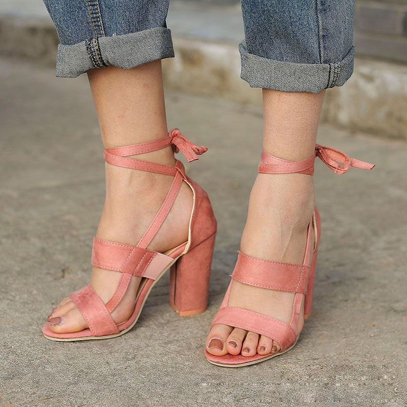2018 New Sexy Women Pumps Open Toe Lace Up Heels Sandals Thick High Heels Summer Spring Shoes 88 Popular womens sandals summer 2018 sexy women pumps open toe lace up heels sandals woman sandals thick with women shoes women high heels