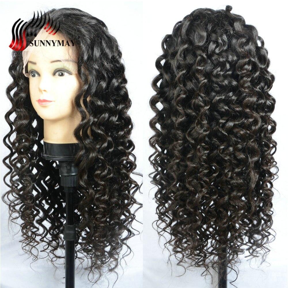 Sunnymay человеческие волосы полный кружево Искусственные парики для женщин свободные вьющиеся Предварительно выщипанные волосы с ребенком в