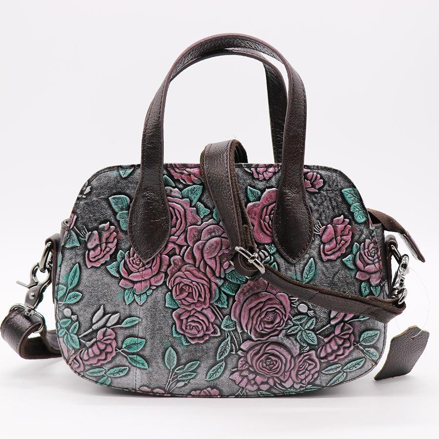 Бренд Малый Hobos Для женщин Повседневное сумка розы выгравированы Натуральная кожа Сумочка Дамы Креста тела плеча Курьерские сумки